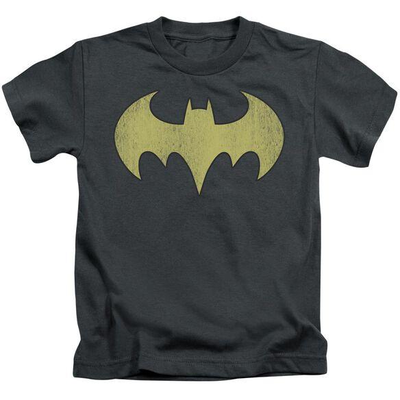 Dc Batgirl Logo Distressed Short Sleeve Juvenile Charcoal T-Shirt