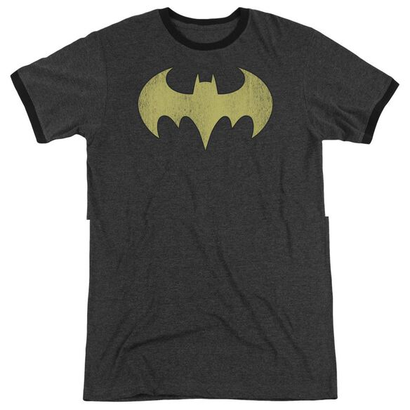 Dc Batgirl Logo Distressed Adult Heather Ringer Charcoal
