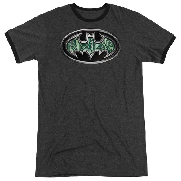 Batman Circuitry Shield Adult Heather Ringer Charcoal