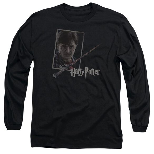 Harry Potter Harrys Wand Portrait Long Sleeve Adult T-Shirt