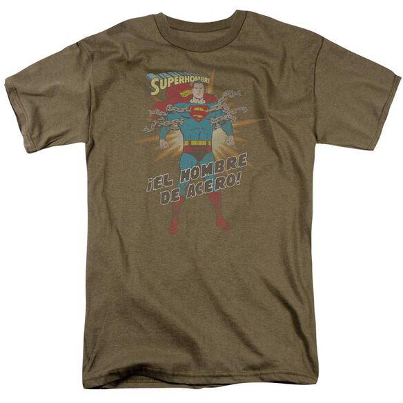 Superman El Hombre Del Acero Short Sleeve Adult Safari Green T-Shirt