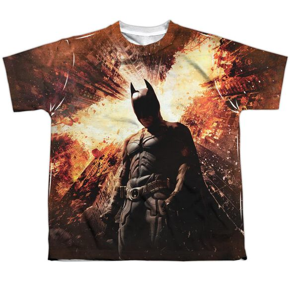 Dark Knight Rises Fire Poster Short Sleeve Youth Poly Crew T-Shirt