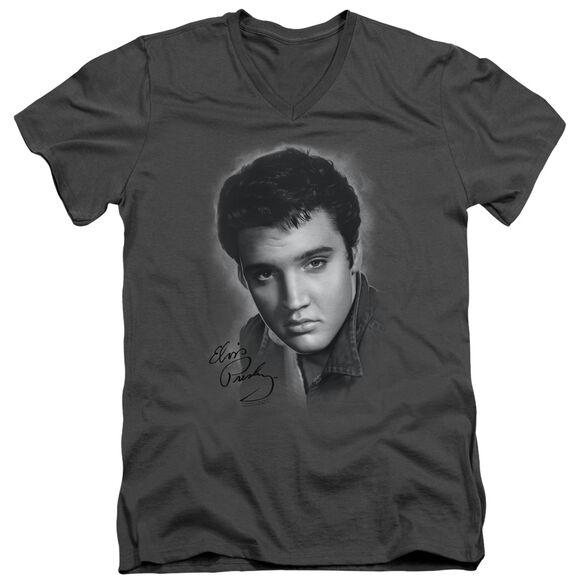 ELVIS PRESLEY GREY PORTRAIT - S/S ADULT V-NECK - CHARCOAL T-Shirt