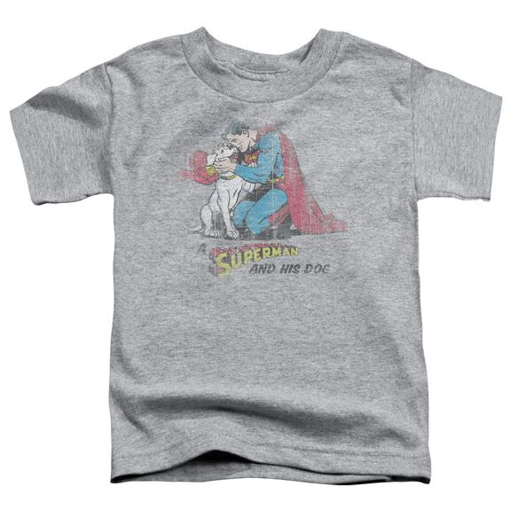 Superman And His Dog Short Sleeve Toddler Tee Athletic Heather Lg T-Shirt
