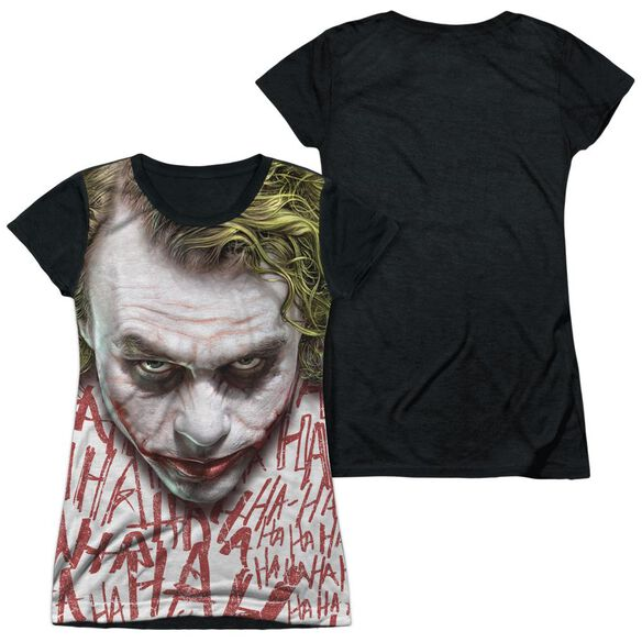 Dark Knight Joker Face Short Sleeve Junior Poly Black Back T-Shirt