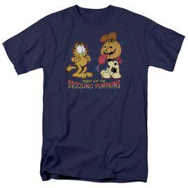 Garfield Drooling Pumpkins Short Sleeve Adult Navy T-Shirt