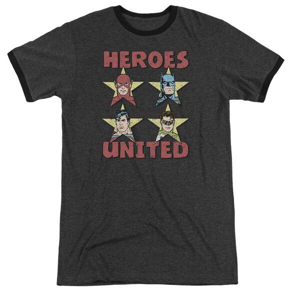 Jla United Stars Adult Heather Ringer Charcoal