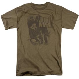 John Wayne In The West Short Sleeve Adult Sand T-Shirt