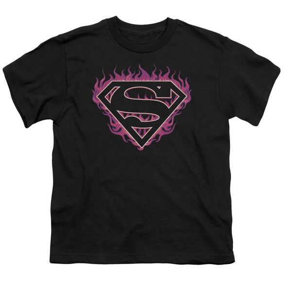Superman Fuchsia Flames Short Sleeve Youth T-Shirt