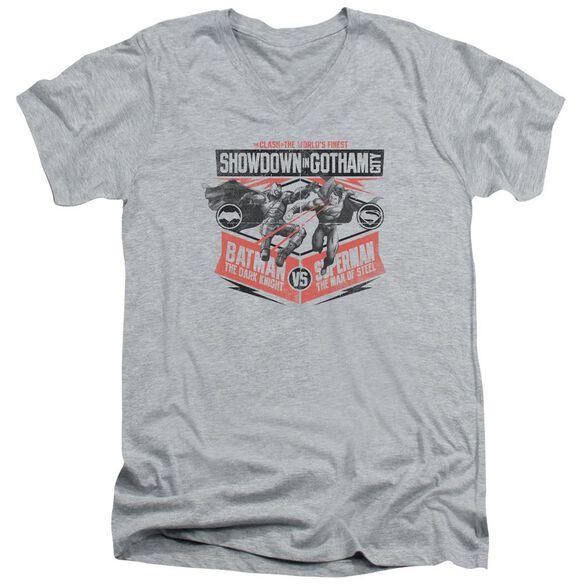 Batman V Superman Showdown In Gotham Short Sleeve Adult V Neck Athletic T-Shirt