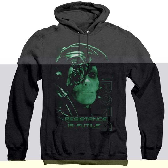 Star Trek Resistance Is Futile - Adult Heather Hoodie - Black