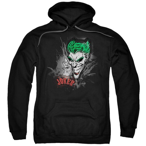 Batman Joker Sprays The City Adult Pull Over Hoodie Black