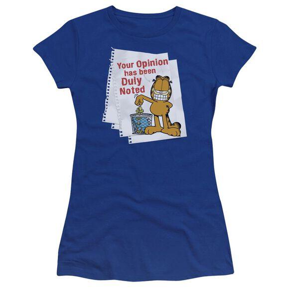 Garfield Duly Noted Premium Bella Junior Sheer Jersey Royal