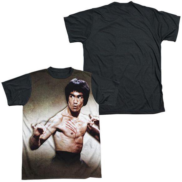 Bruce Lee Scratched Short Sleeve Adult Front Black Back T-Shirt