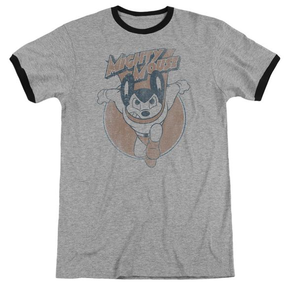 Mighty Mouse Flying With Purpose Adult Ringer Heather Black