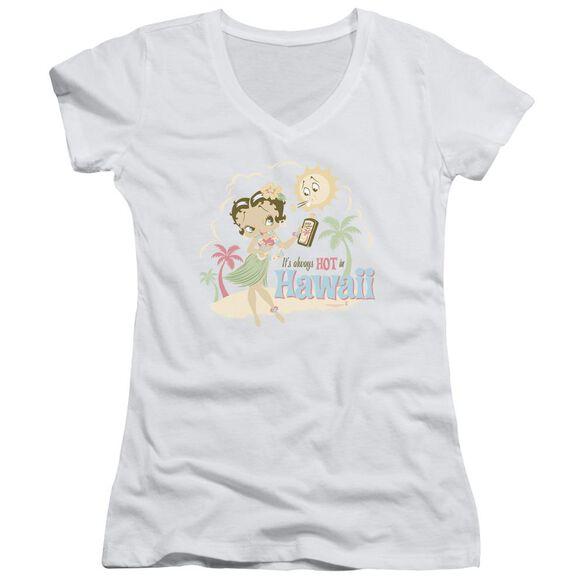 Betty Boop Hot In Hawaii Junior V Neck T-Shirt