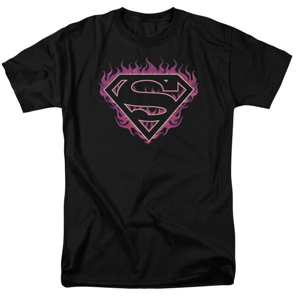 Superman Fuchsia Flames Short Sleeve Adult T-Shirt