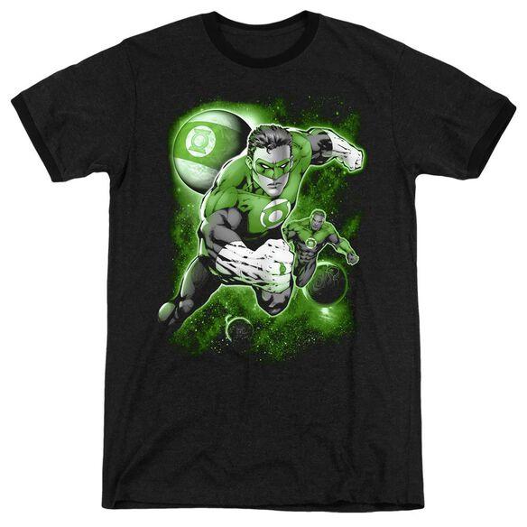 Green Lantern Lantern Planet - Adult Heather Ringer - Black