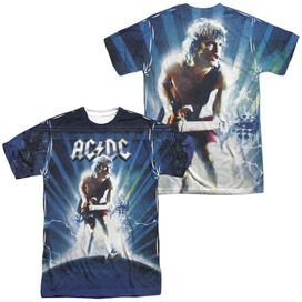 Acdc Lightning (Front Back Print) Short Sleeve Adult Poly Crew T-Shirt