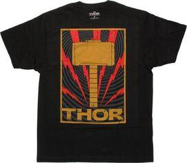 Thor Hammer Lightning Frame Black T-Shirt