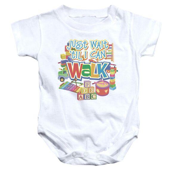 Just Wait Infant Snapsuit White Lg