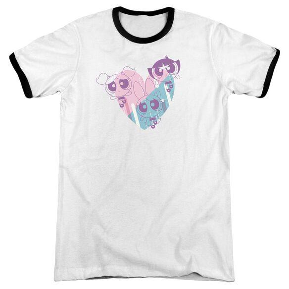 Powerpuff Girls Powerpuff Heart Adult Ringer White Black