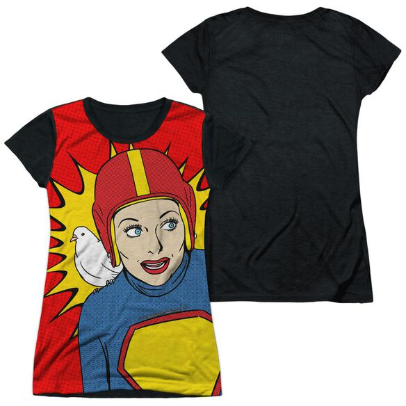 I Love Lucy Super Lucy Short Sleeve Junior Poly Black Back T-Shirt