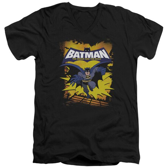 Batman Bb Rooftop Leap Short Sleeve Adult V Neck T-Shirt