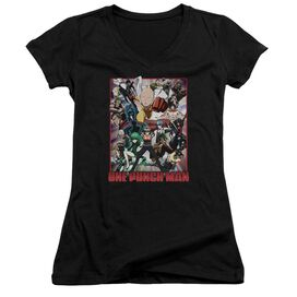 One Punch Man Cast Of Characters Junior V Neck T-Shirt