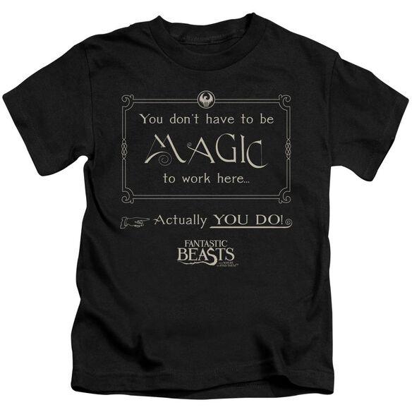 Fantastic Beasts Magic To Work Here Short Sleeve Juvenile T-Shirt