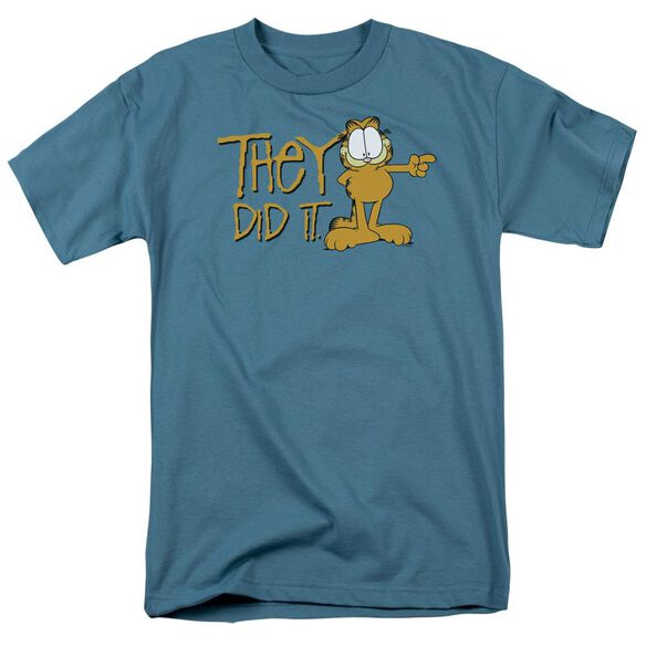 Garfield They Did It Short Sleeve Adult Slate T-Shirt