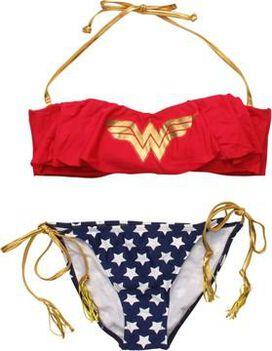 Wonder Woman Ruffled Bandeau Tasseled Swimsuit
