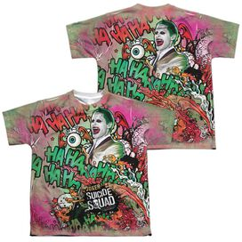 Suicide Squad Joker Psychedelic Cartoon (Front Back Print) Short Sleeve Youth Poly Crew T-Shirt