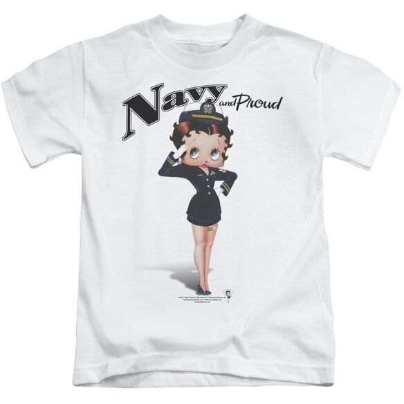 Betty Boop Navy Boop Short Sleeve Juvenile White T-Shirt