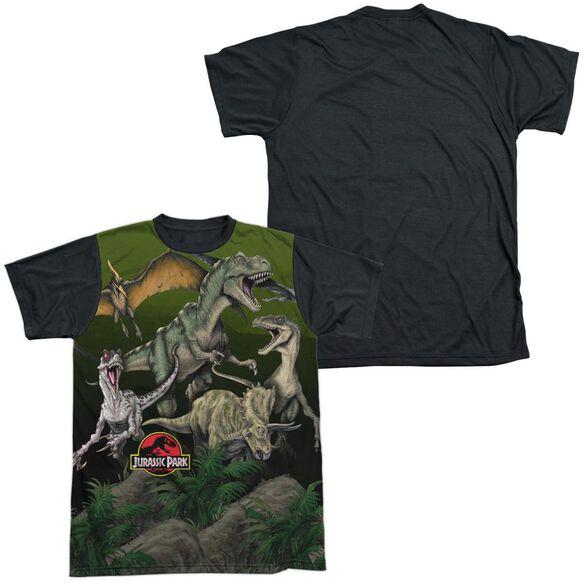 Jurassic Park Pack Of Dinos Short Sleeve Adult Front Black Back T-Shirt