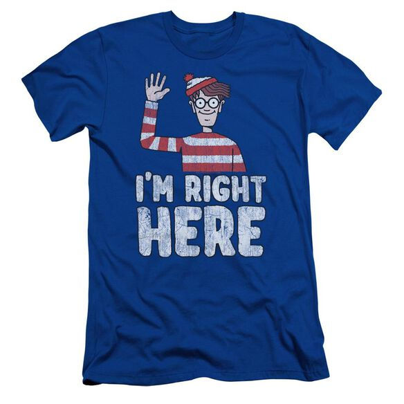 Wheres Waldo Im Right Here Short Sleeve Adult Royal T-Shirt