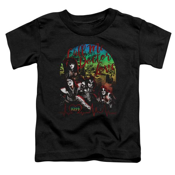 Kiss Doctor Love Short Sleeve Toddler Tee Black T-Shirt