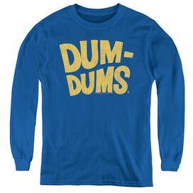 Dum Dums Distressed Logo - Youth Long Sleeve Tee - Royal Blue