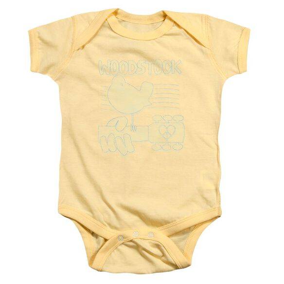 Woodstock Liney Logo Infant Snapsuit Banana