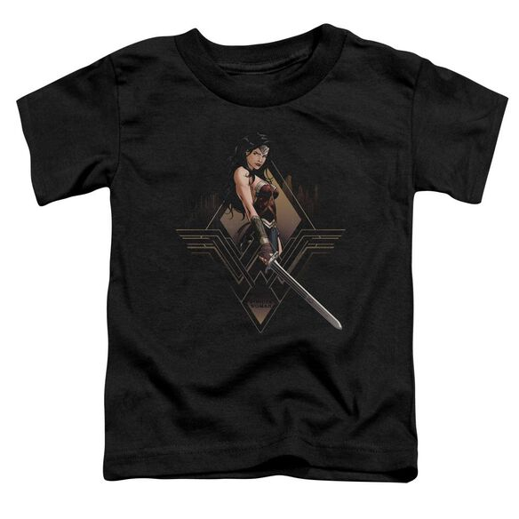 Batman V Superman City Girl Short Sleeve Toddler Tee Black T-Shirt