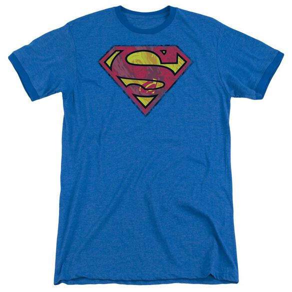 Superman Action Shield Adult Heather Ringer Royal Blue