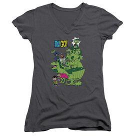 Teen Titans Go Beast Boy Stack Junior V Neck T-Shirt