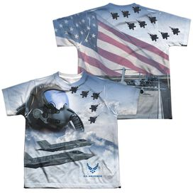 Air Force Pilot (Front Back Print) Short Sleeve Youth Poly Crew T-Shirt
