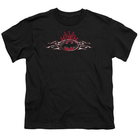 Batman Steel Flames Logo Short Sleeve Youth T-Shirt