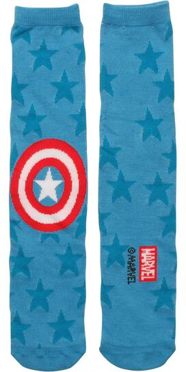Captain America Single Logo and Stars Crew Socks