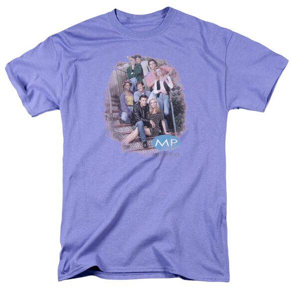 Melrose Place Orig.Cast Distressed Short Sleeve Adult Lavendar T-Shirt