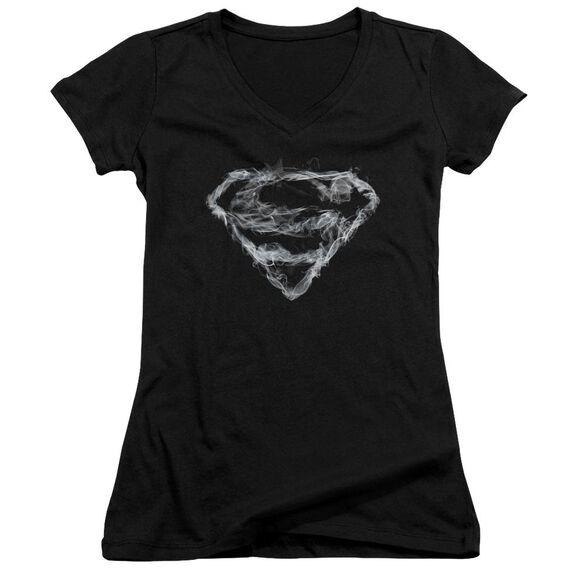 Superman Smoking Shield - Junior V-neck - Black