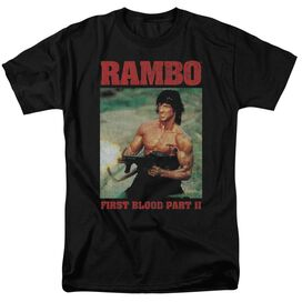 Rambo:First Blood Ii Dropping Shells Short Sleeve Adult Black T-Shirt