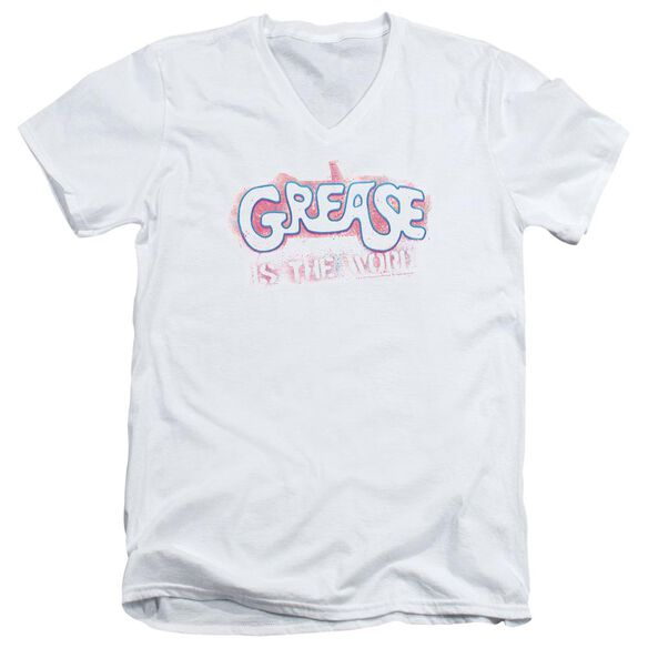 Grease Grease Is The Word Short Sleeve Adult V Neck T-Shirt