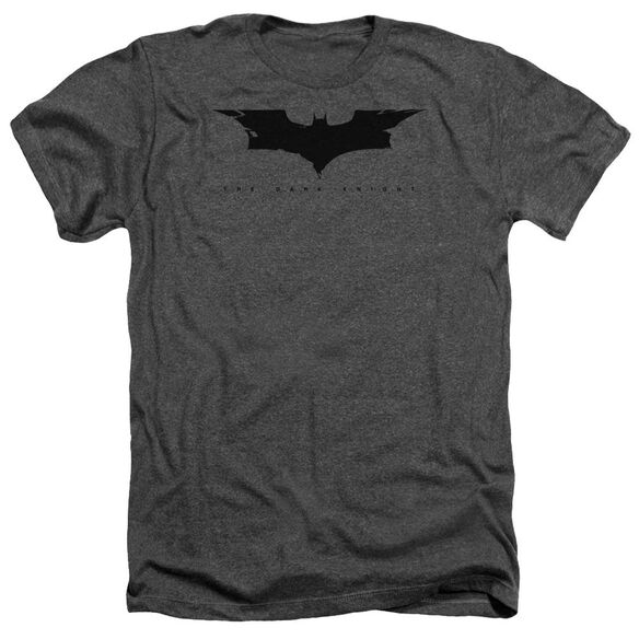 Dark Knight Cracked Bat Logo Adult Heather